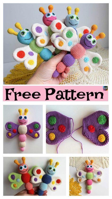 Easy Crochet Amigurumi Butterfly - Free Patterns   bag strap ...