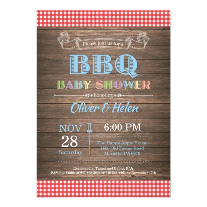 Rustic BBQ Baby Shower Invitation Blue
