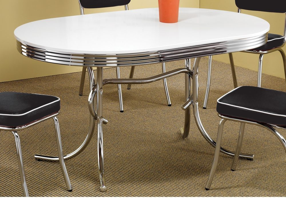 Oval Dining Table White Finish Retro Chrome Metal Modern Style - Rectangular retro diner table