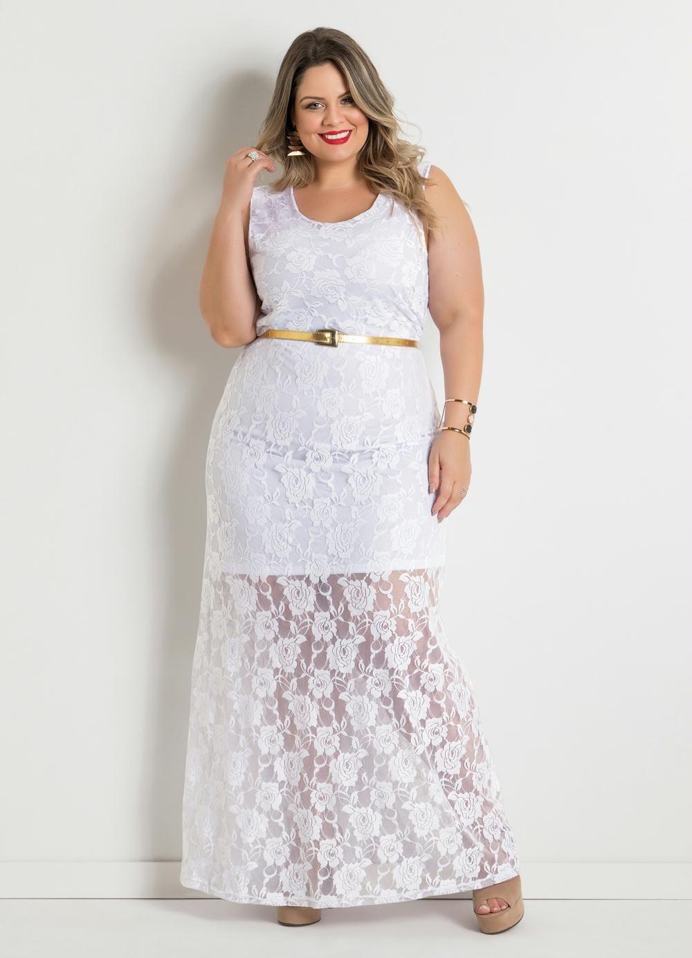 5bf73109b Vestido Longo Renda Branco Plus Size Marguerite - Posthaus