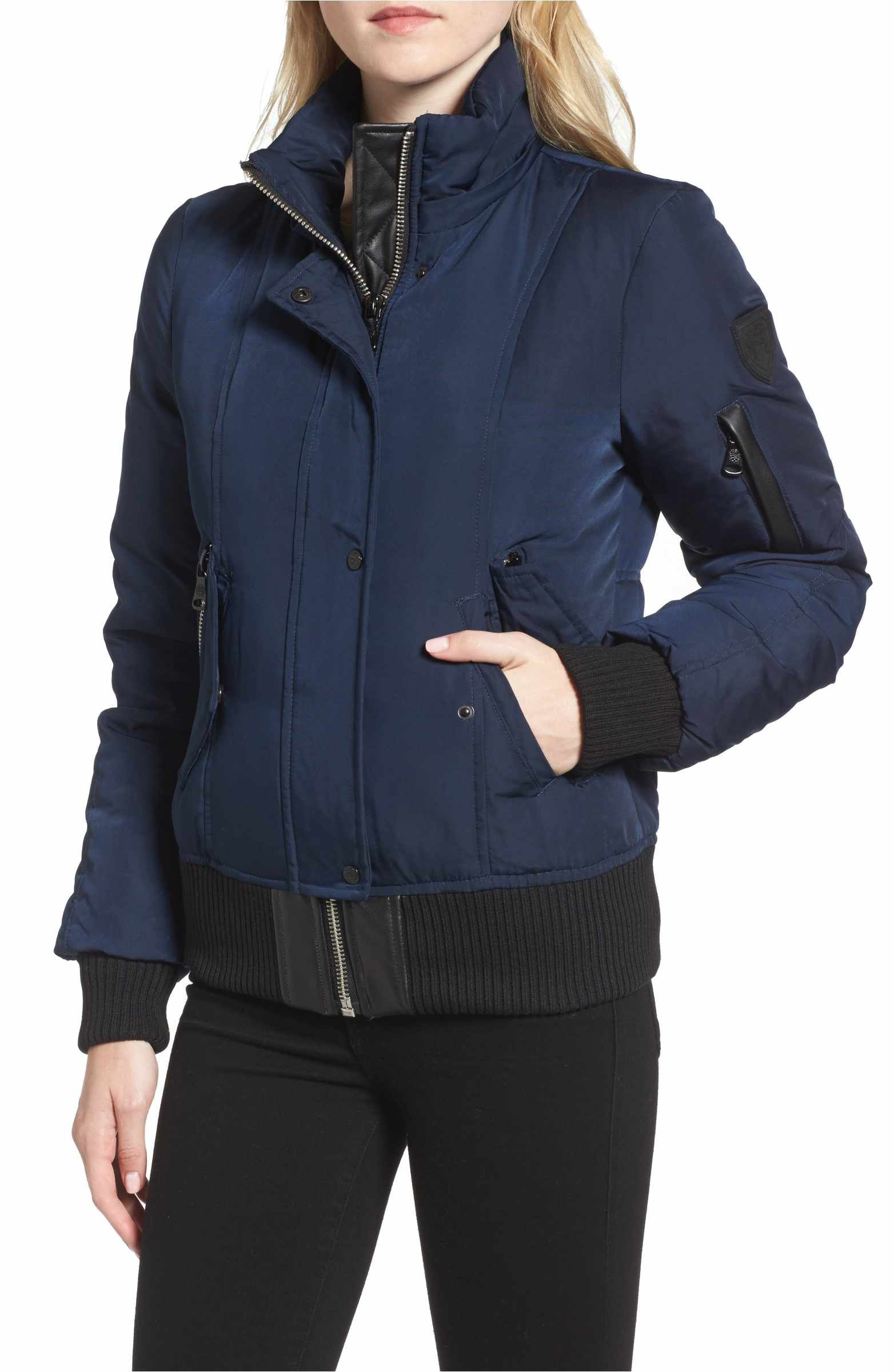 Vince Camuto Quilted Bomber Jacket With Faux Fur Trim