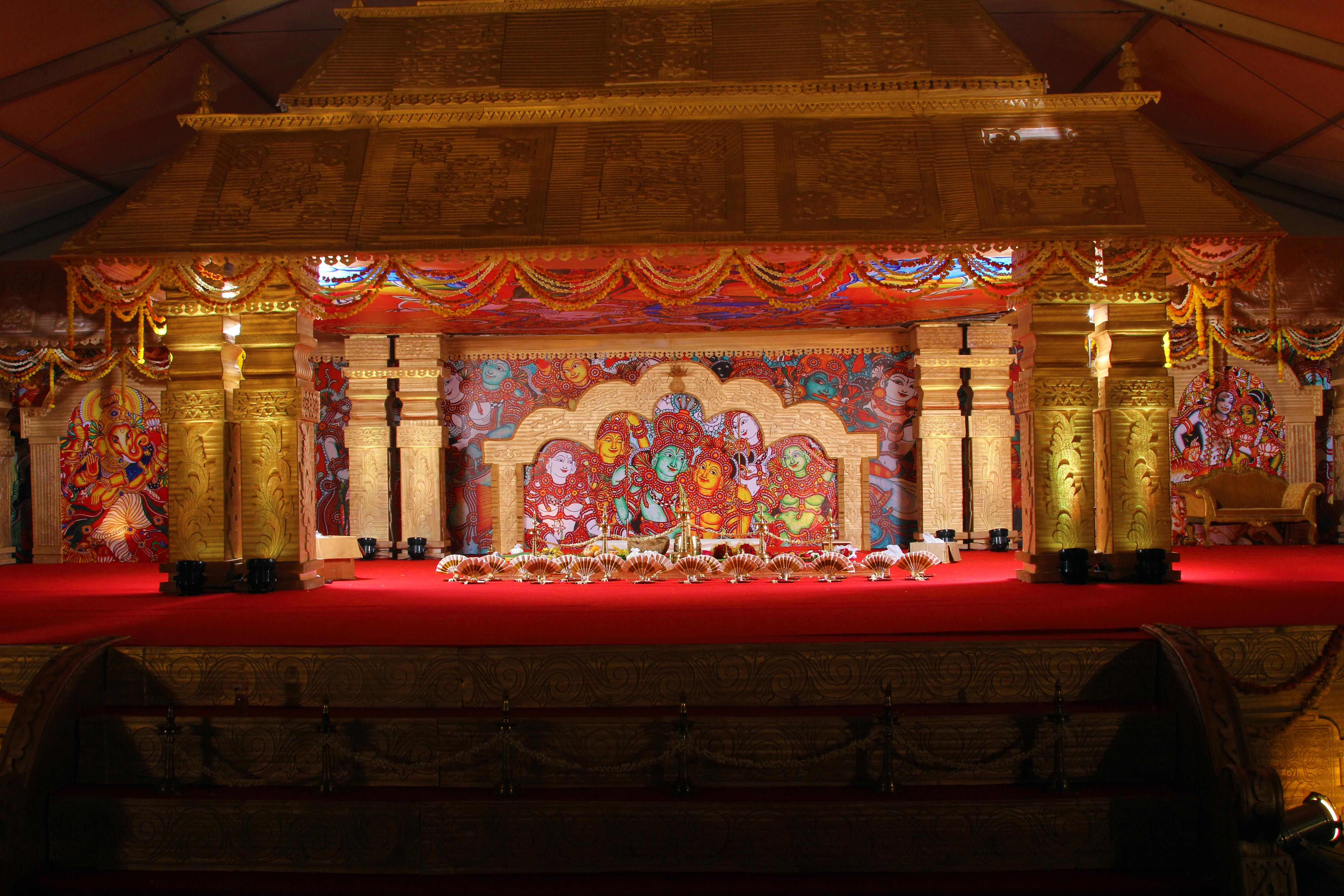 Traditional temple theme with murals the south indian gala wedding traditional temple theme with murals the south indian gala wedding stage junglespirit Choice Image