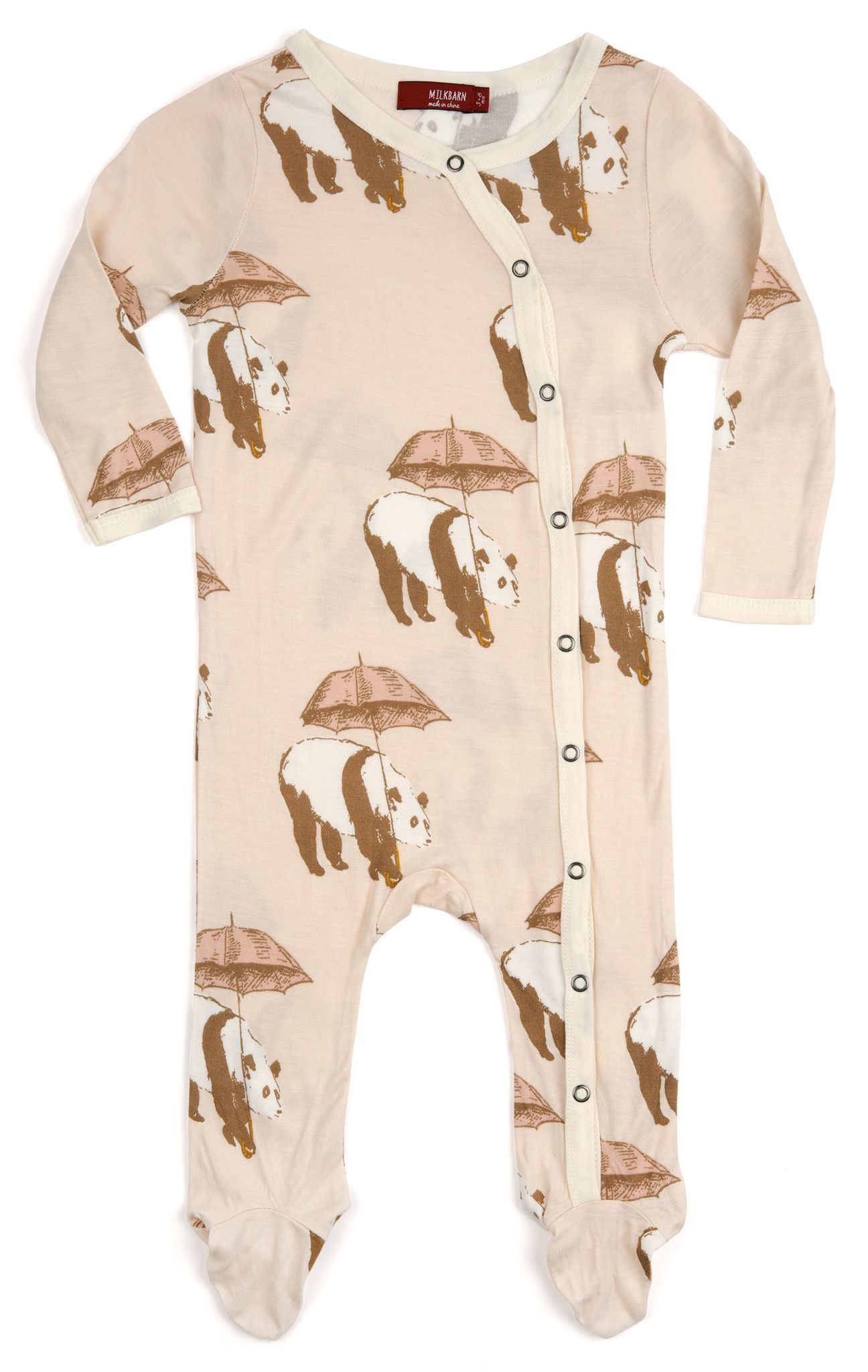 MilkBarn Baby Bamboo Footed Romper Pink Umbrella Panda