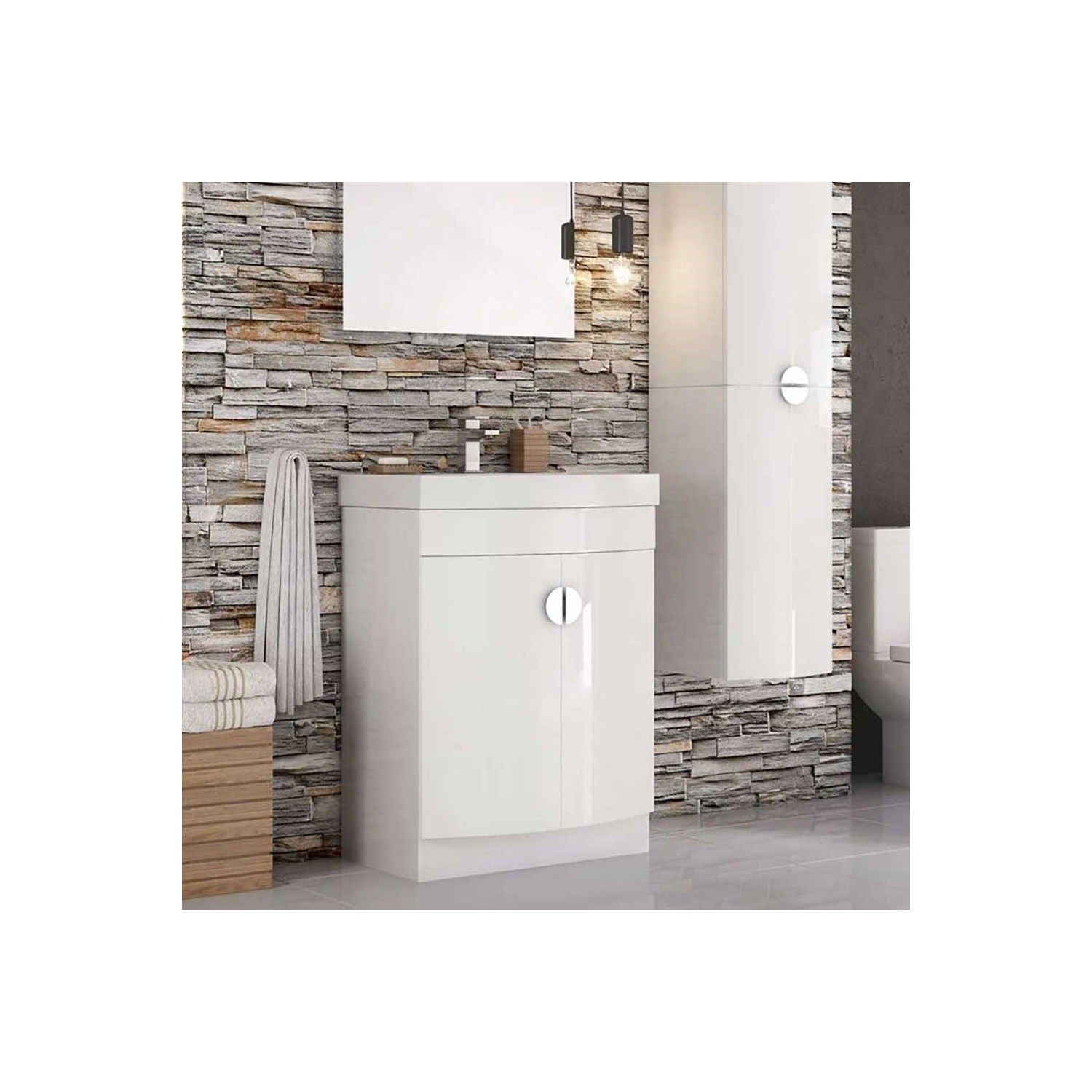 Harbour Acclaim D Shape 600mm Floorstanding Gloss White Vanity Unit & Basin. Proudly Brought to you by Drench. Free Delivery Over £500* 0% Finance Available* 3D Design Service