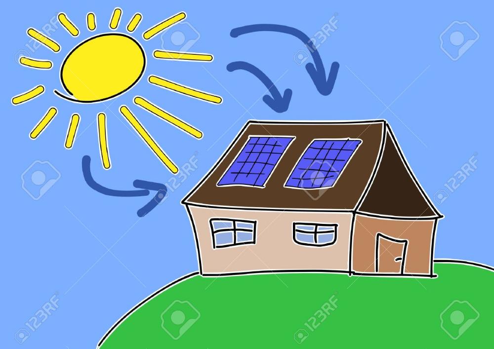 Doodle Dibujo Concepto De La Energia Solar La Energia Solar Renovable Con Celulas Fotovoltaicas En El Techo De La Casa Energia Solar Celulas Fotovoltaicas Energia Renovable