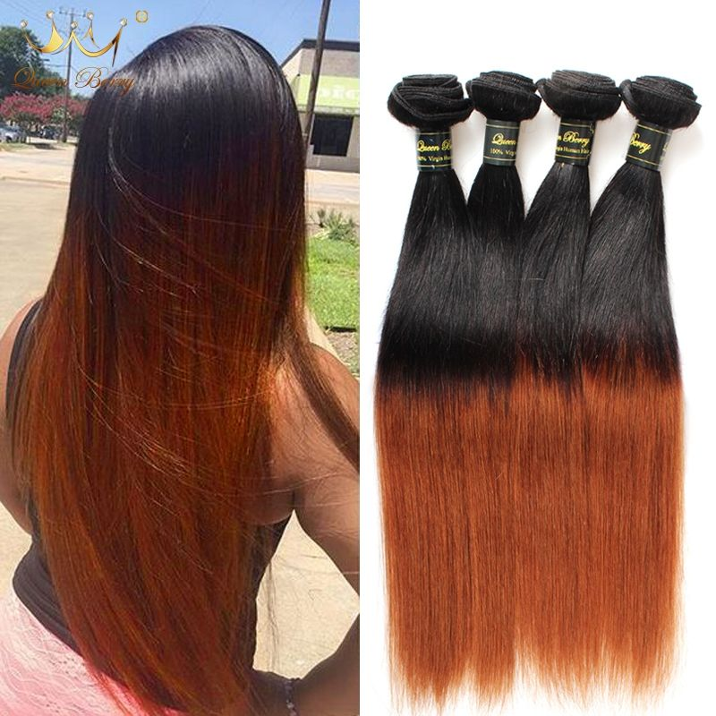 Ombre Peruvian Virgin Hair Straight 4 Bundles 8a Two Tone Ombre