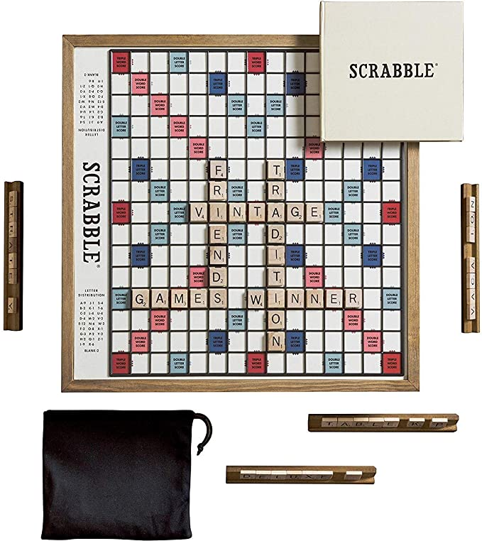 Amazon Com Ws Game Company Scrabble Deluxe Vintage Edition With Rotating Game Board Toys Games Board Games Scrabble Games