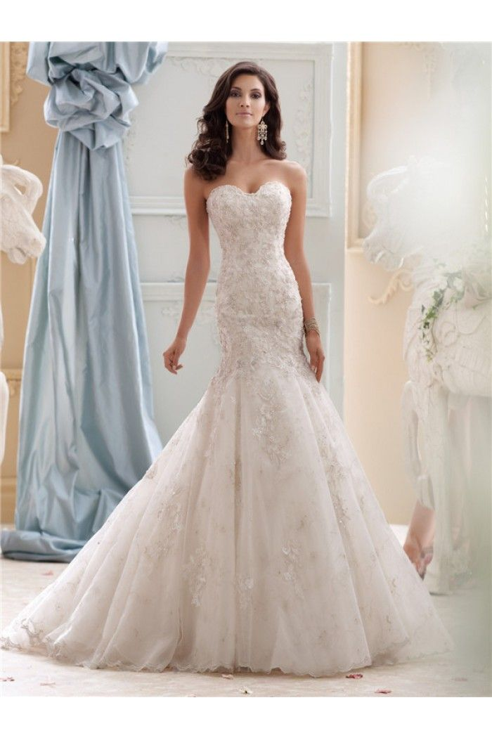 Fit And Flare Strapless Ivory Tulle Lace Beaded Wedding Dress Lace