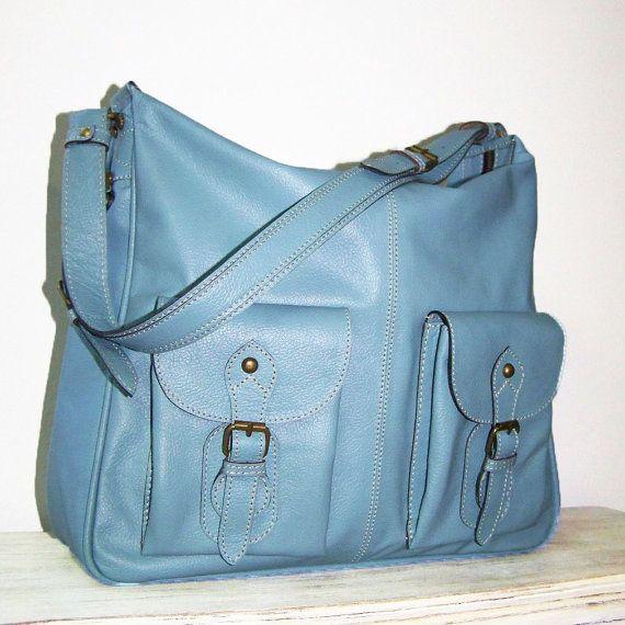 Eden. Light Blue Leather Handbag Leather Messenger Leather Purse ...