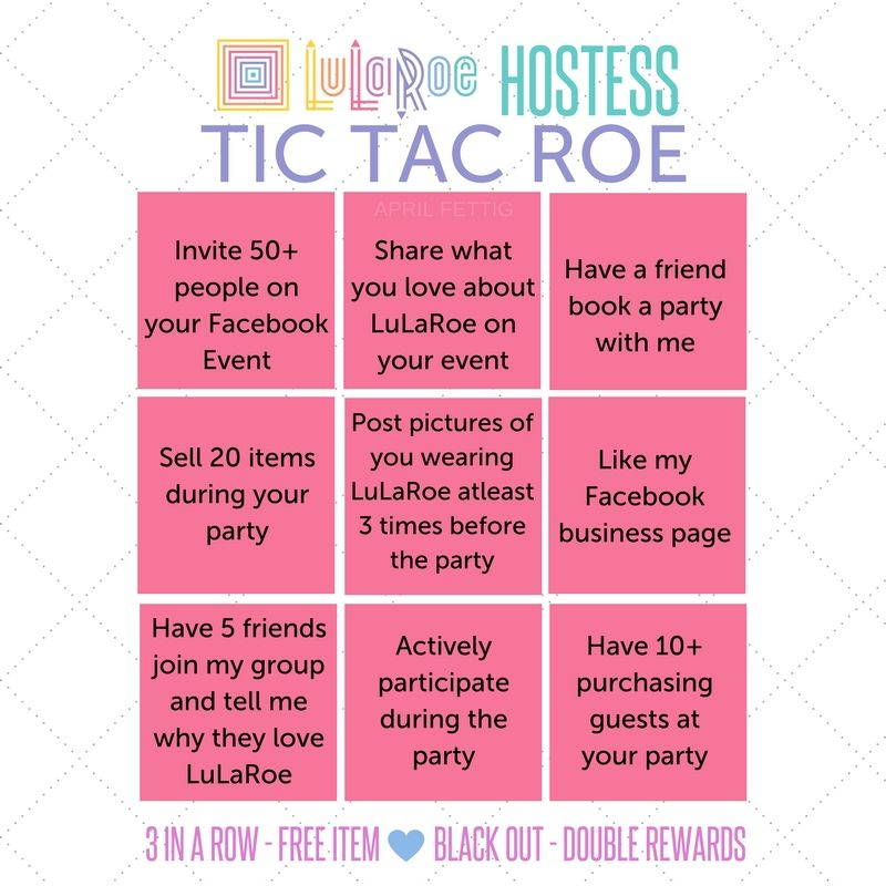 Nice LuLaRoe Hostess Rewards Tic Tac Roe! #lularoe #hostess #popup  #lularoehostess #
