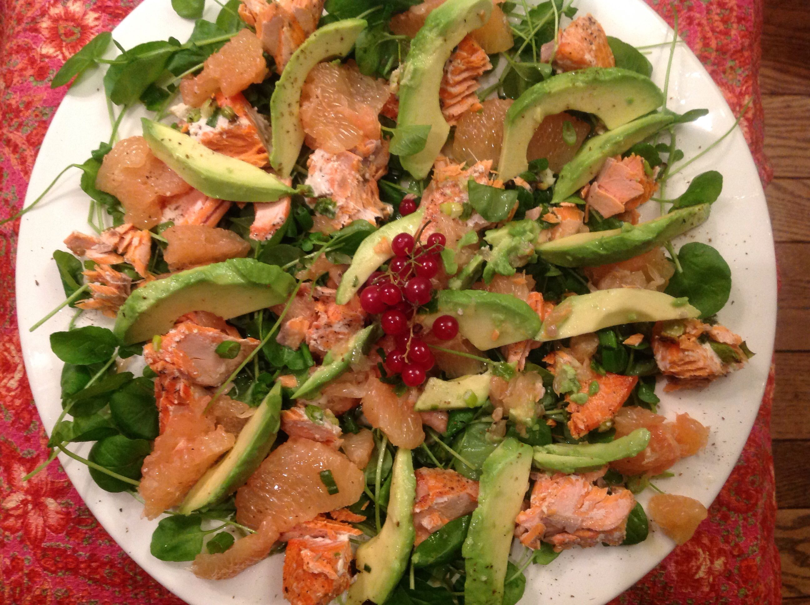 Ruby Red grapefruit, oven roasted salmon, avocado on watercress salad.