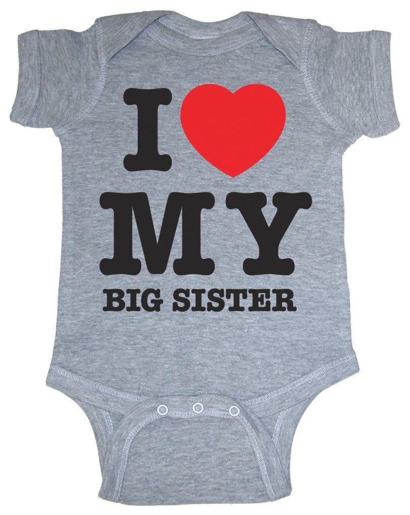 So Relative! I Love My Big Sister (Red Heart) Heather Grey Baby Infant Short Sleeve Bodysuit Creeper, (big sister shirt, big sister shirts, big sister t-shirt, big sister, i love my shirt, onesie)