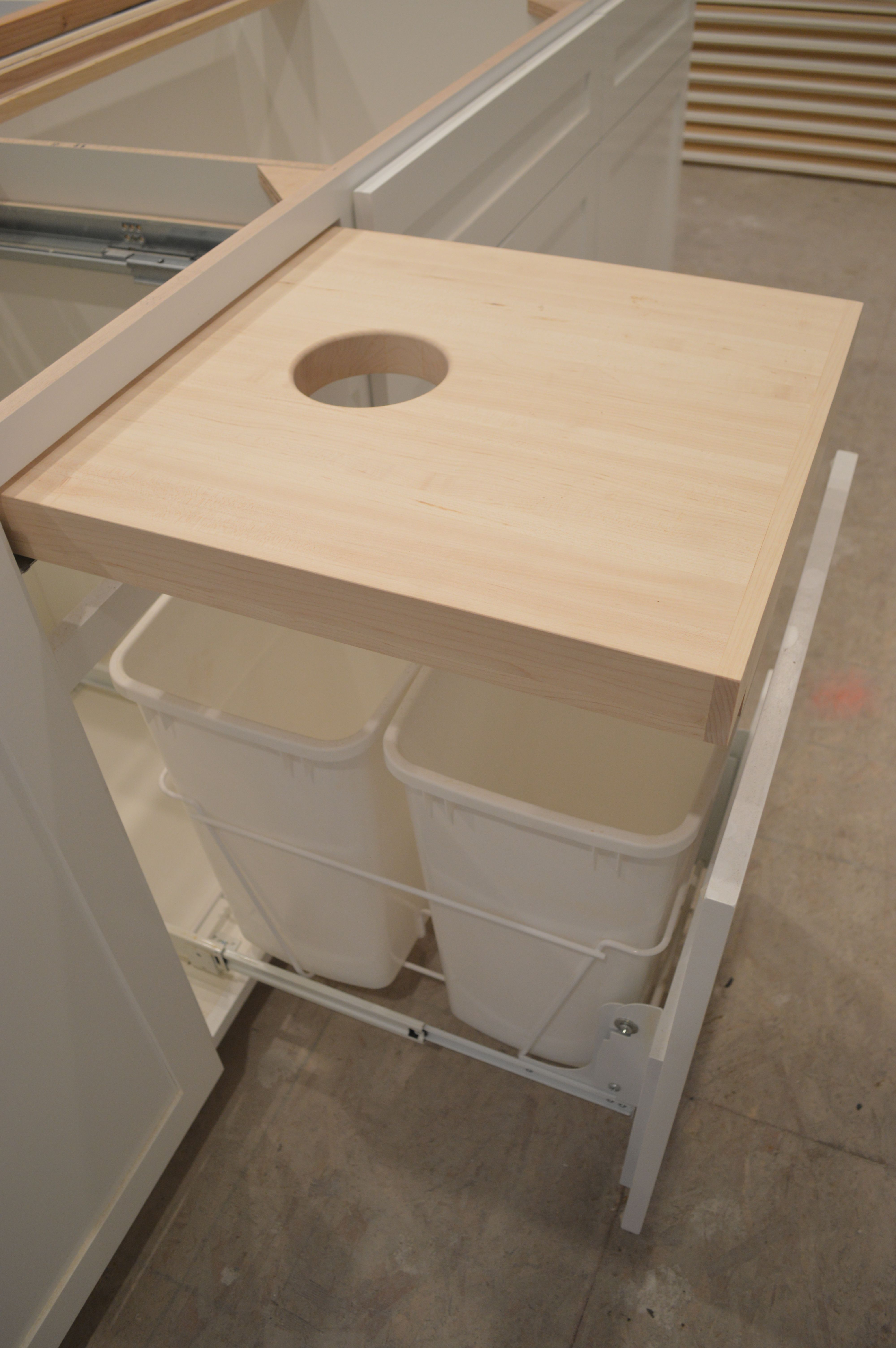 Kitchen Progress Cutting Board With Hole And Garbage Bins Below Check Instagram For