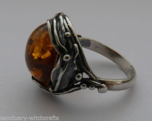Beautiful Sterling Silver Art Nouveau Design Amber Ring. Size O.