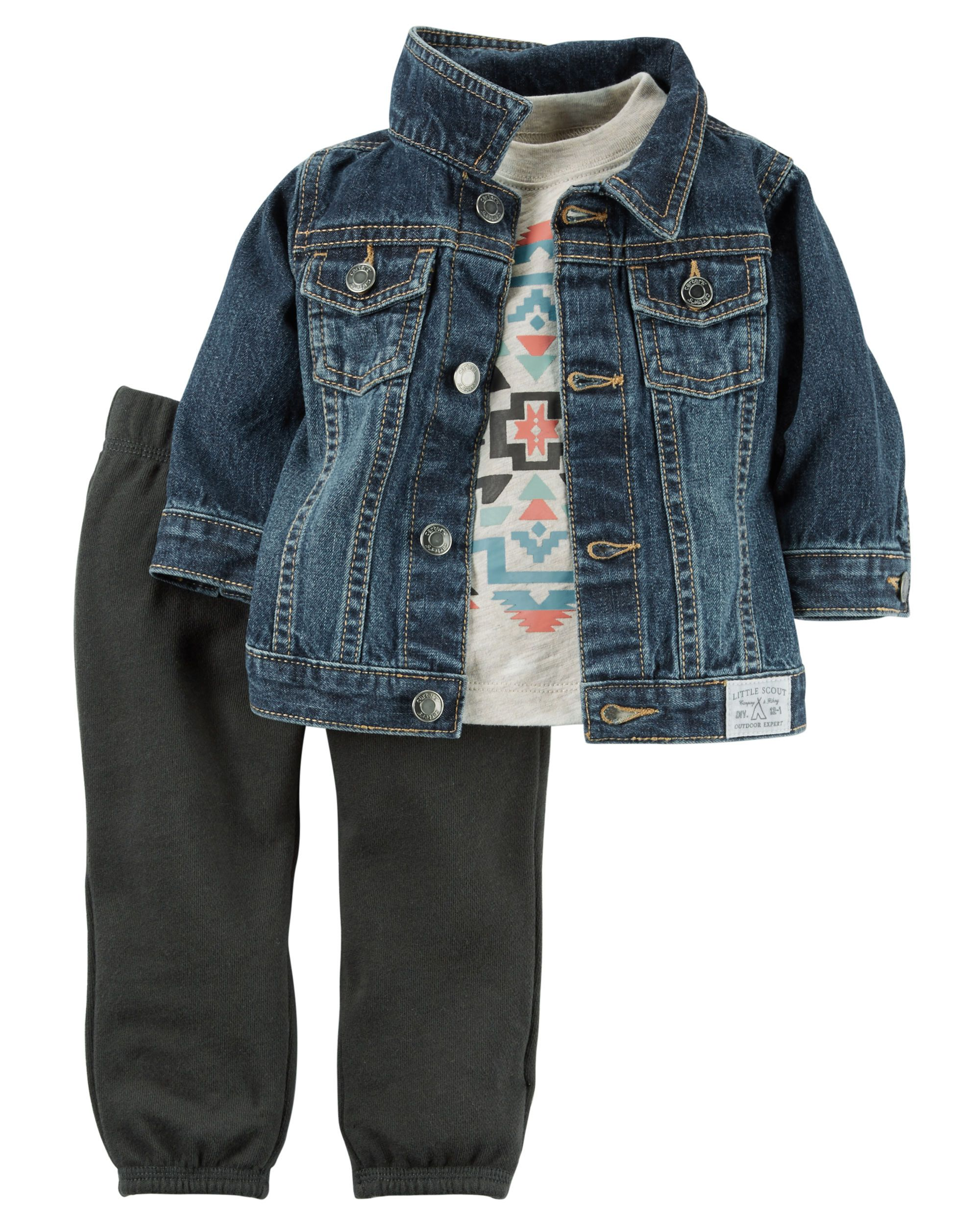 3 Piece Denim Jacket Terry Pant Set Boy Outfits Boys Fall Outfits Baby Boy Outfits [ 2500 x 2000 Pixel ]
