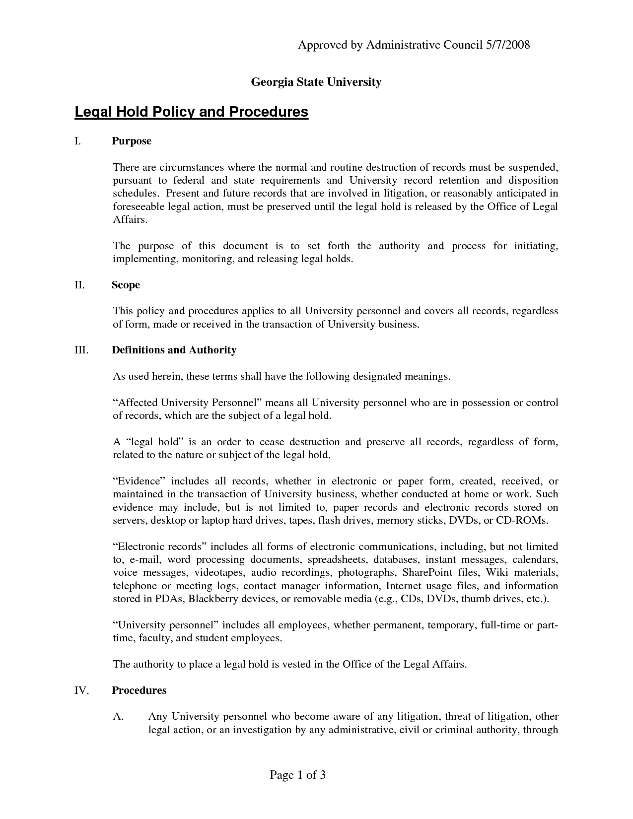 Legal Document Template Approved by Administrative by