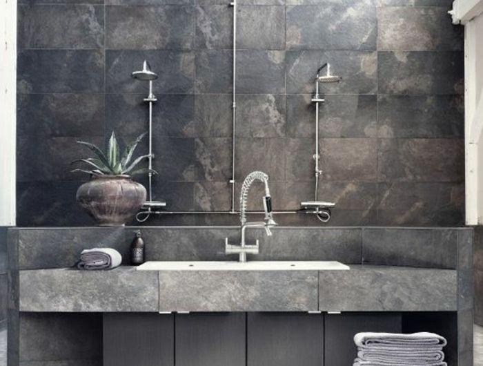 vasque-salle-de-bain-gris-carreau-marbre-chic Bathrooms 2