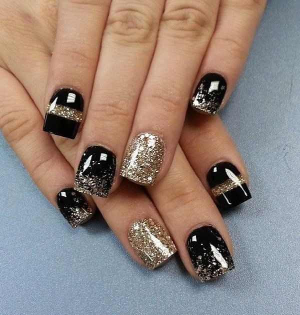 Classic black and gold ensemble for the winter season. You can never go  wrong with this combination, adding gold glitter helps make the design  truly stand ... - 65 Winter Nail Art Ideas Winter Season, Gold Glitter And Winter