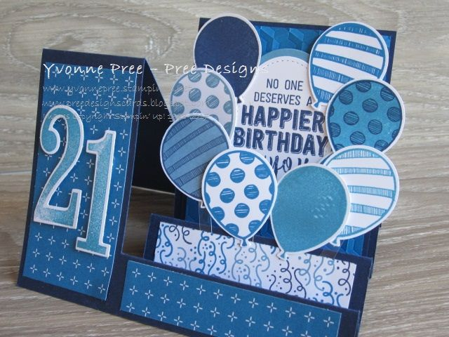 Balloon Adventures Balloon Pop Up Thinlits Large Numbers Side Step Layout 2017 Occasions Stampin Up Yvonn 21st Birthday Cards Step Cards Fun Fold Cards