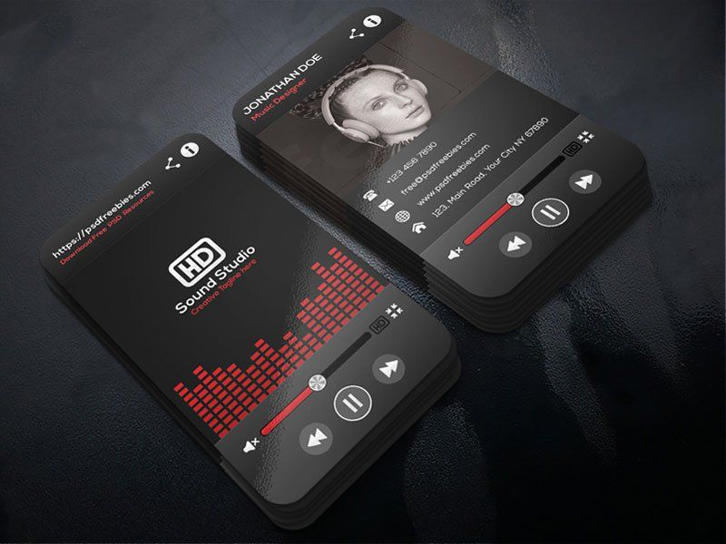 Music Player Style Business Card Template Psd Business Cards Creative Business Card Template Psd Music Business Cards
