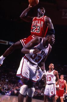Michael Jordan Dunking Over Patrick Ewing Basketball Dunks Legends
