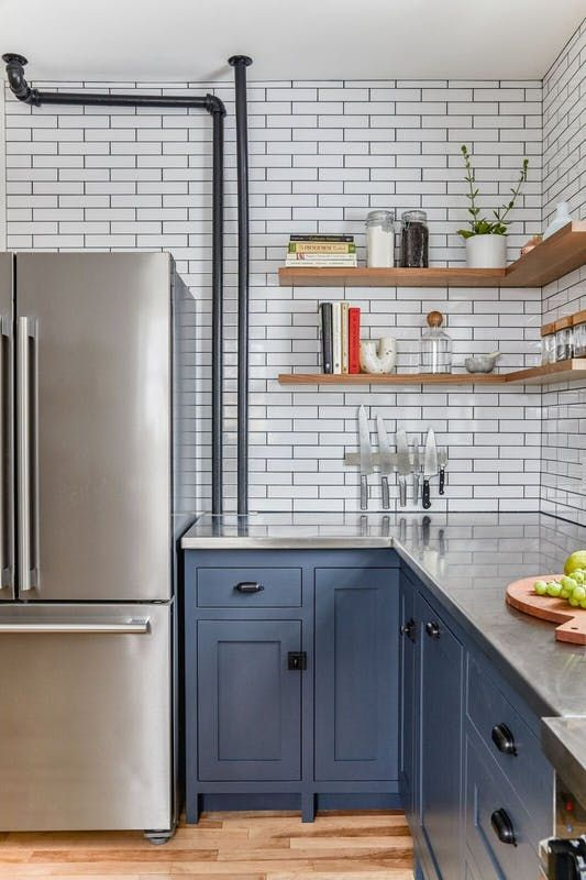 Before and After  A Sparkly Purple Kitchen Goes Blue Steel kitchen Apartment therapy