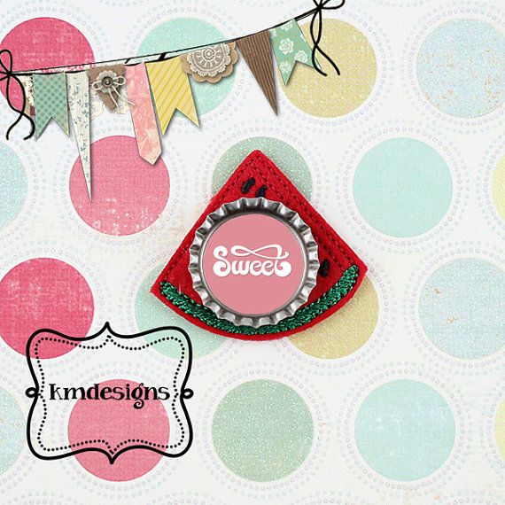 Bottle cap Watermelon Feltie ITH Embroidery design file