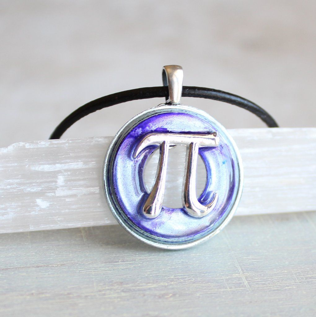 Pi necklace in purple and silver my gift ideas pinterest the number is a mathematical constant the ratio of a circles circumference to its diameter it is approximately equal to fun pi necklace in vibrant biocorpaavc