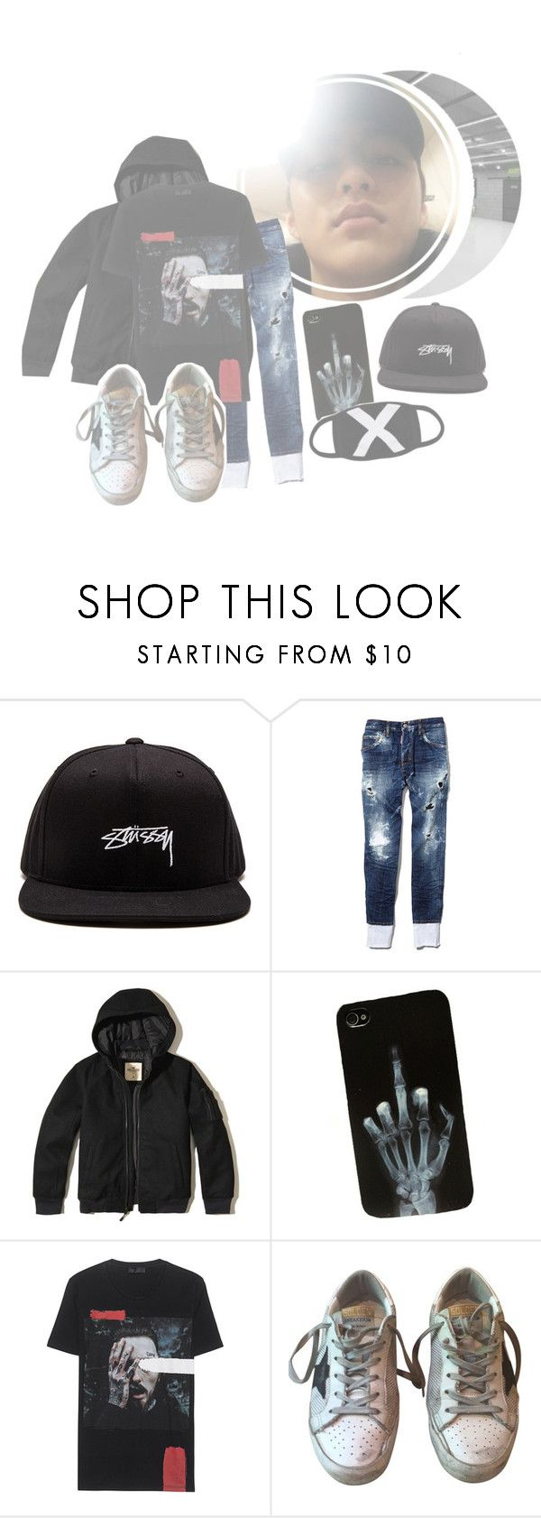 """""""Going out for a walk"""" by tk-official ❤ liked on Polyvore featuring Stussy, Dsquared2, Hollister Co., Golden Goose, men's fashion and menswear"""