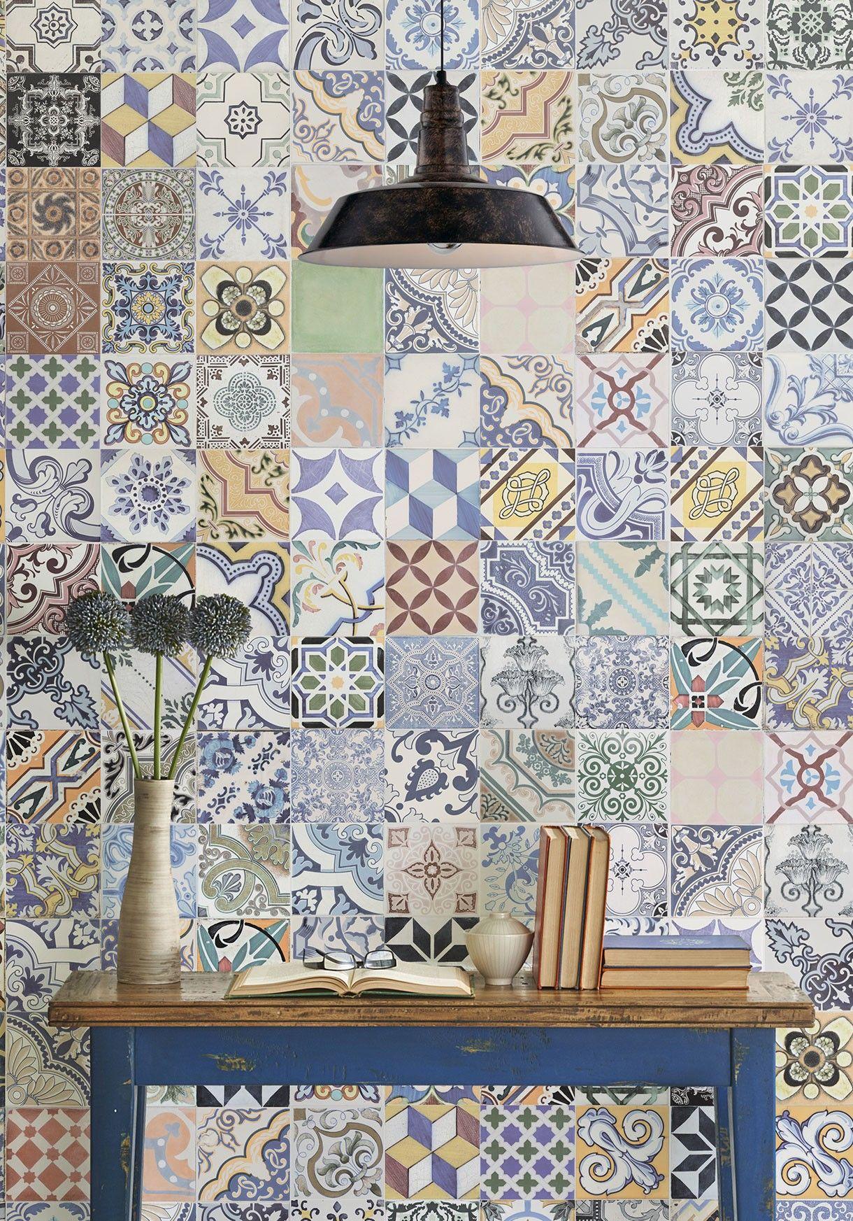 Cement Federation Tile Wallpaper By Milton King Tile Wallpaper Reclaimed Tile Traditional Wallpaper Alexis spanish tile wallpaper