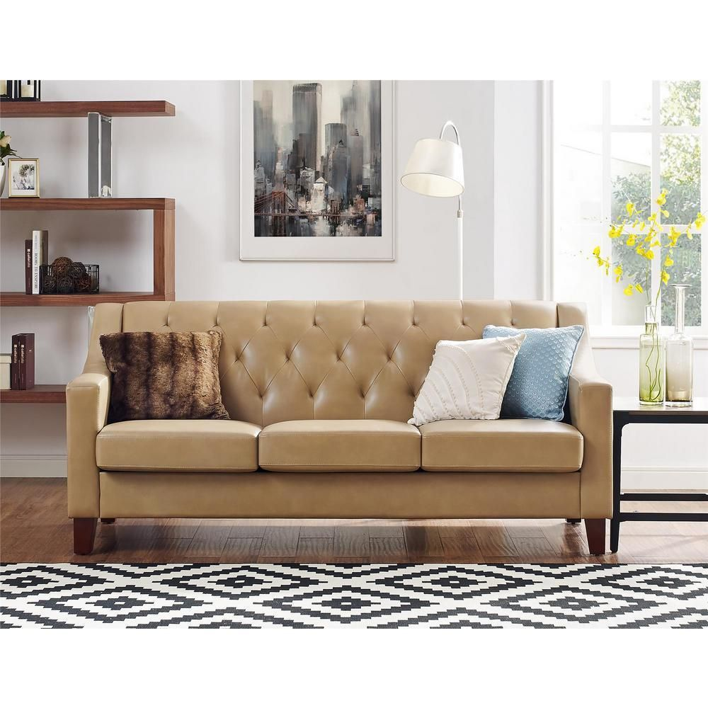 Taupe Vintage Style Leather Sofa