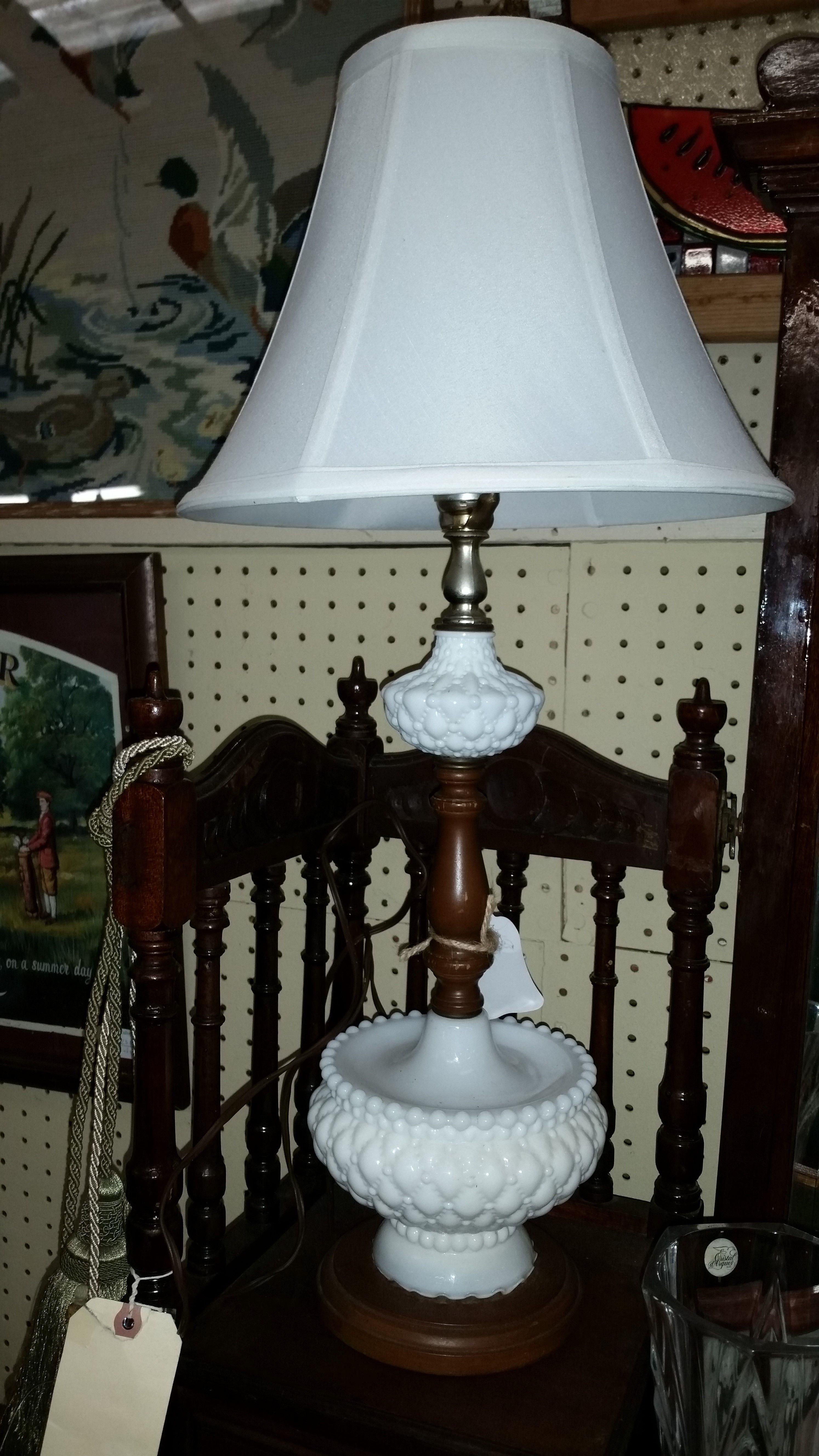 Lovely Vintage Milk Glass Lamp.  https://www.etsy.com/listing/204117870/hobnail-milk-glass-lamp?