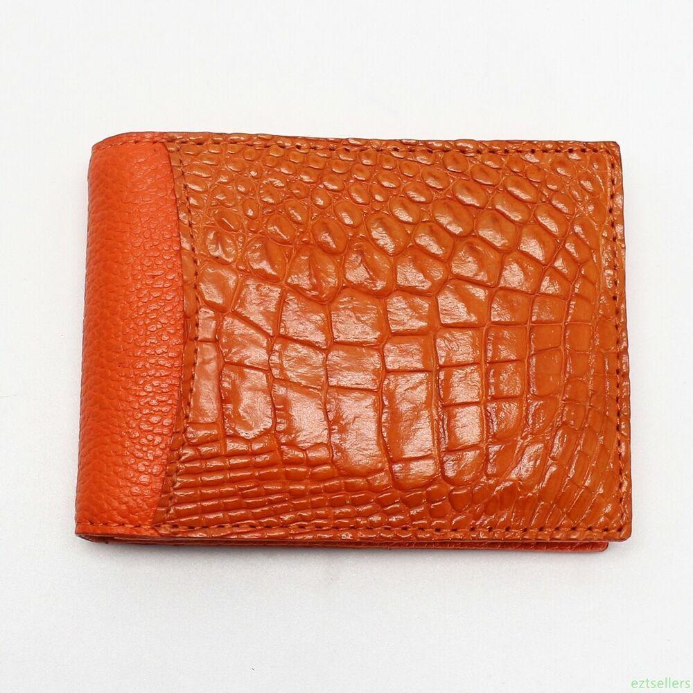 Brown Genuine Alligator CROCODILE Leather Skin Men/'s MONEY CLIP Bifold WALLET