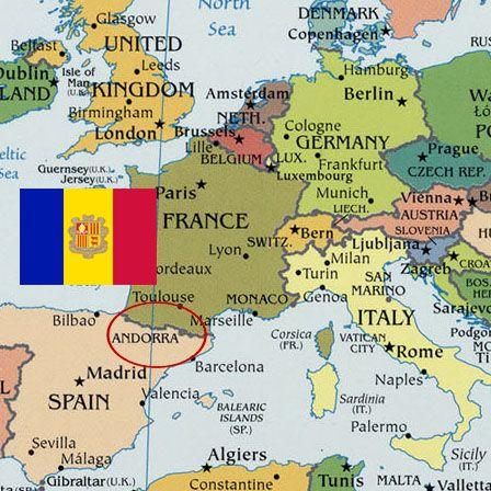 Map of Andorra with andorran Flag Andorra art project ideas