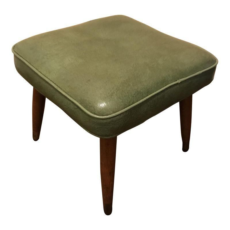 1960s Mid Century Modern Green Vinyl Foot Stool Midcentury Modern Ottoman Footstool Mid Century