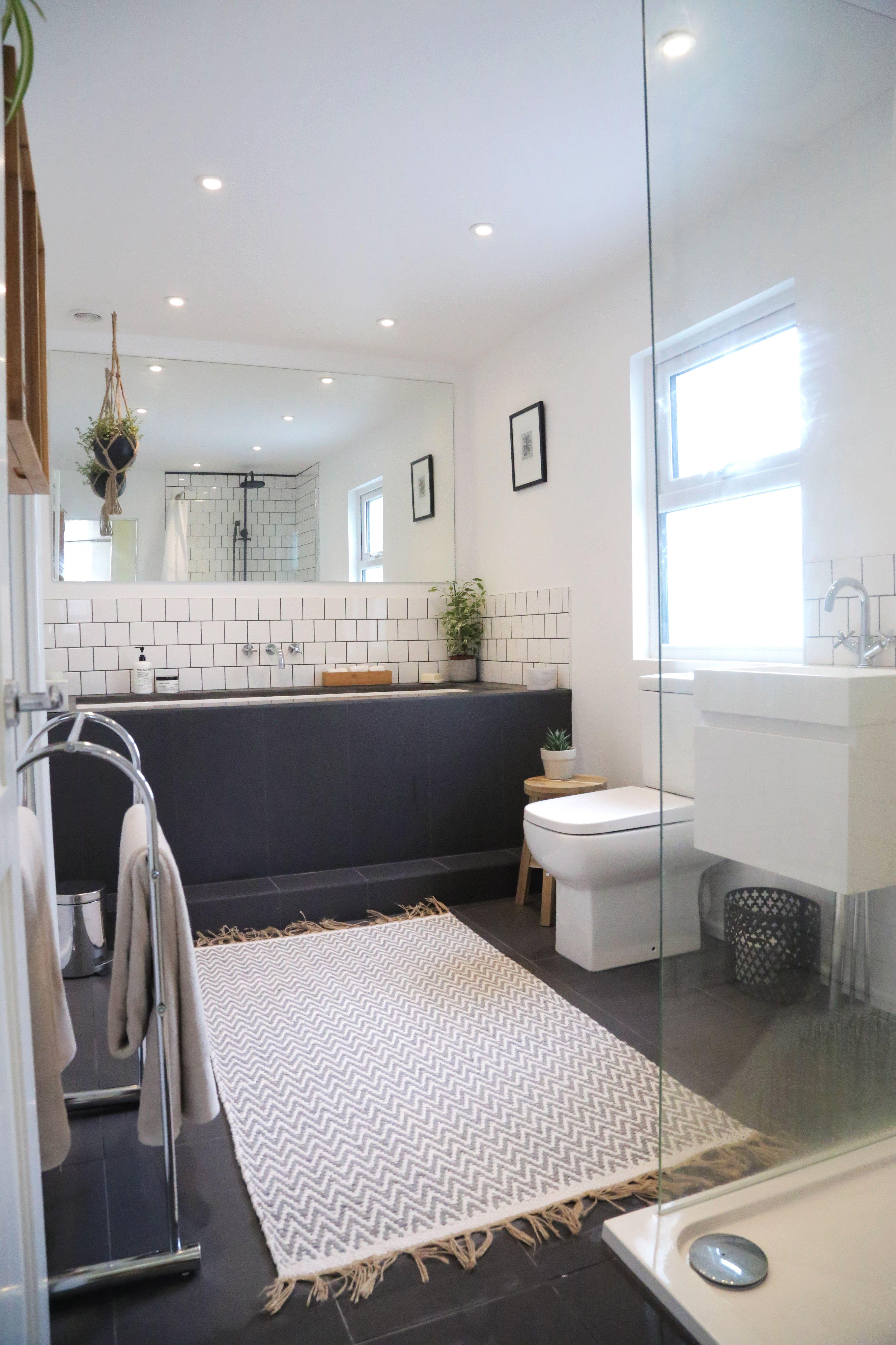 My New Bathroom Small White Square Tiles In Brickwork Pattern Dark Floor Tiles Doblo Tiles White Square Tiles Small Bathroom Colors Very Small Bathroom