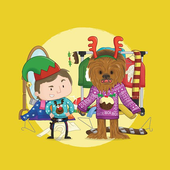 Star Wars Christmas Card - Hans Solo and Chewbacca trying on Christmas jumpers!