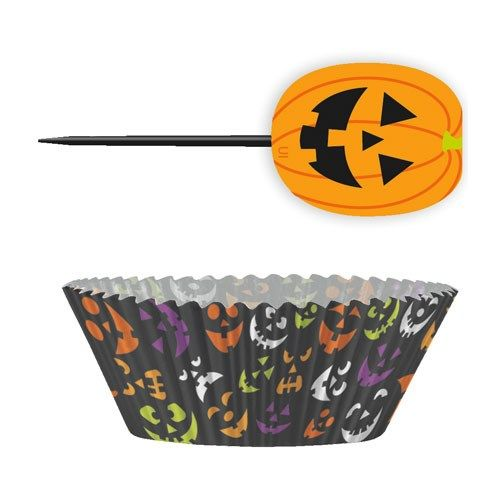 Halloween Græskar Cupcake Sæt - Pakke med 24. Flotte og farverige forme til muffins og cupcakes, perfekte til Halloween!