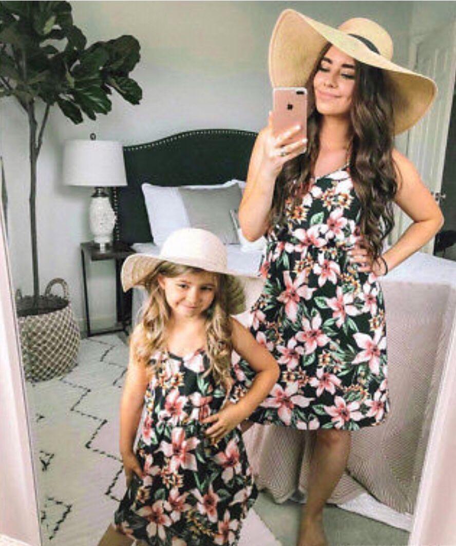 Family Matching Dress Mom/&Daughter Women Girls Striped Bodycon Sundress UK