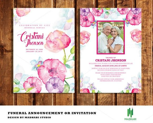 Funeral Announcement Or Invitation. Printables. $8.00 | Printables