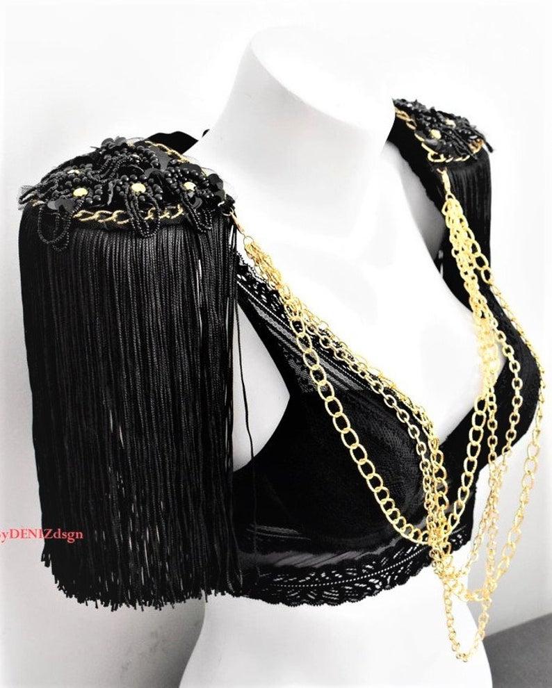 Burning Man Outfit Festival Clothing Unique Body Chain Shoulder Epaulettes
