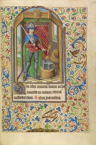 Saint Adrian Armed with a Sword and an Anvil, French, about 1466 - 1470 Ms. Ludwig IX 11, fol. 134