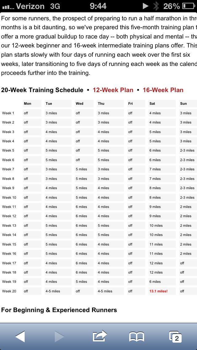 Pin By Ashley Breckenridge Campos On Working On My Fitness Half Marathon Training 20 Weeks Half Marathon Training Plan Half Marathon Plan
