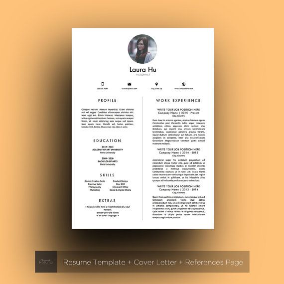 Resume Template With Photo 3 Pages Cv Cover Letter References For Ms Word Professional Creative And Design Cv Model 03 Laura Modele Lettre De Motivation Modele Cv Modele De Cv Professionnel