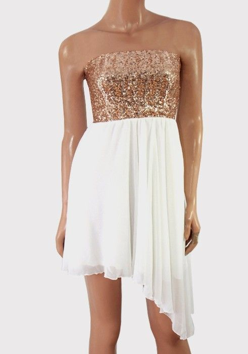 82c7e9d6df3 ASOS Sequin Bandeau Dress with Chiffon Skirt Made from a light chiffon Dark  gold sequin top Strapless design Stretch shirred back Asymmetric hem Fit    flare ...