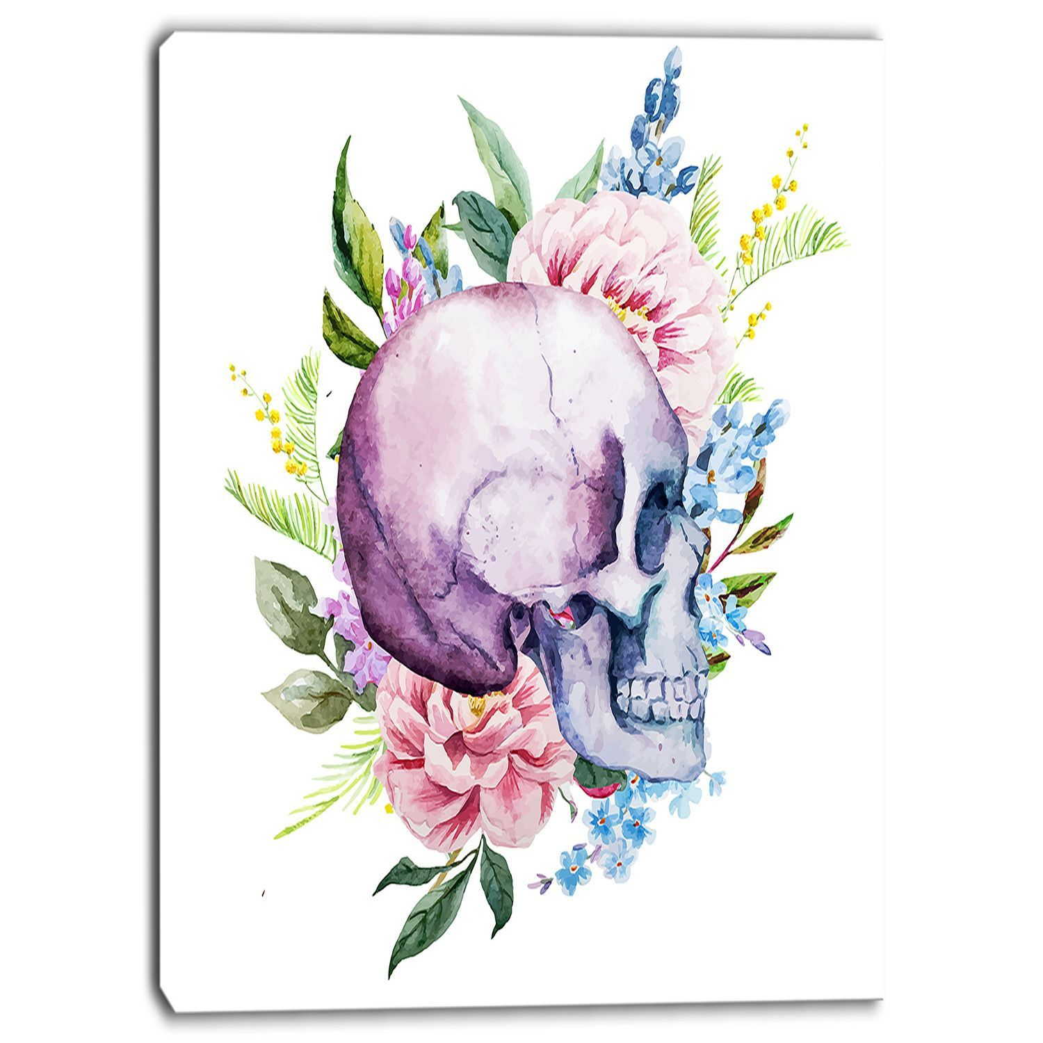 Skull With Flower Borders Digital Floral Graphic Art On Wrapped Canvas Floral Watercolor Watercolor Floral Pattern Art