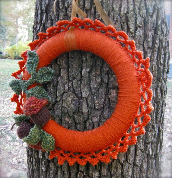 Photo of Items similar to Woodland Pumpkin crocheted wreath with acorns and leaves, autumn colors on Etsy