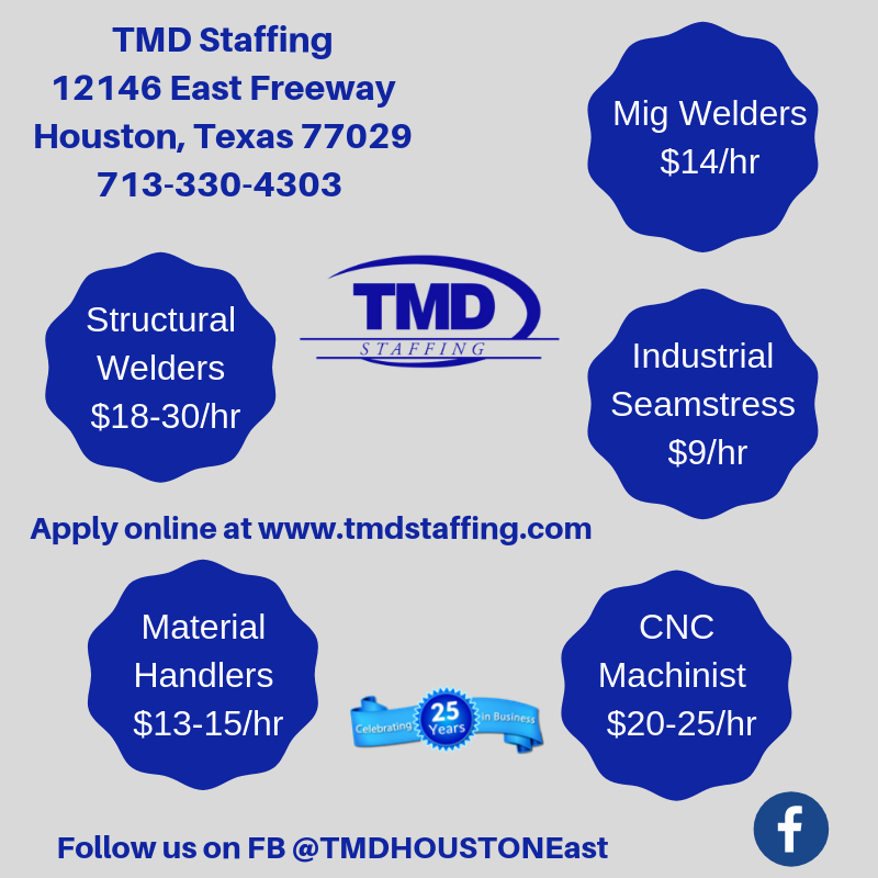Hot Jobs, Houston, TX! Apply online, in person or email