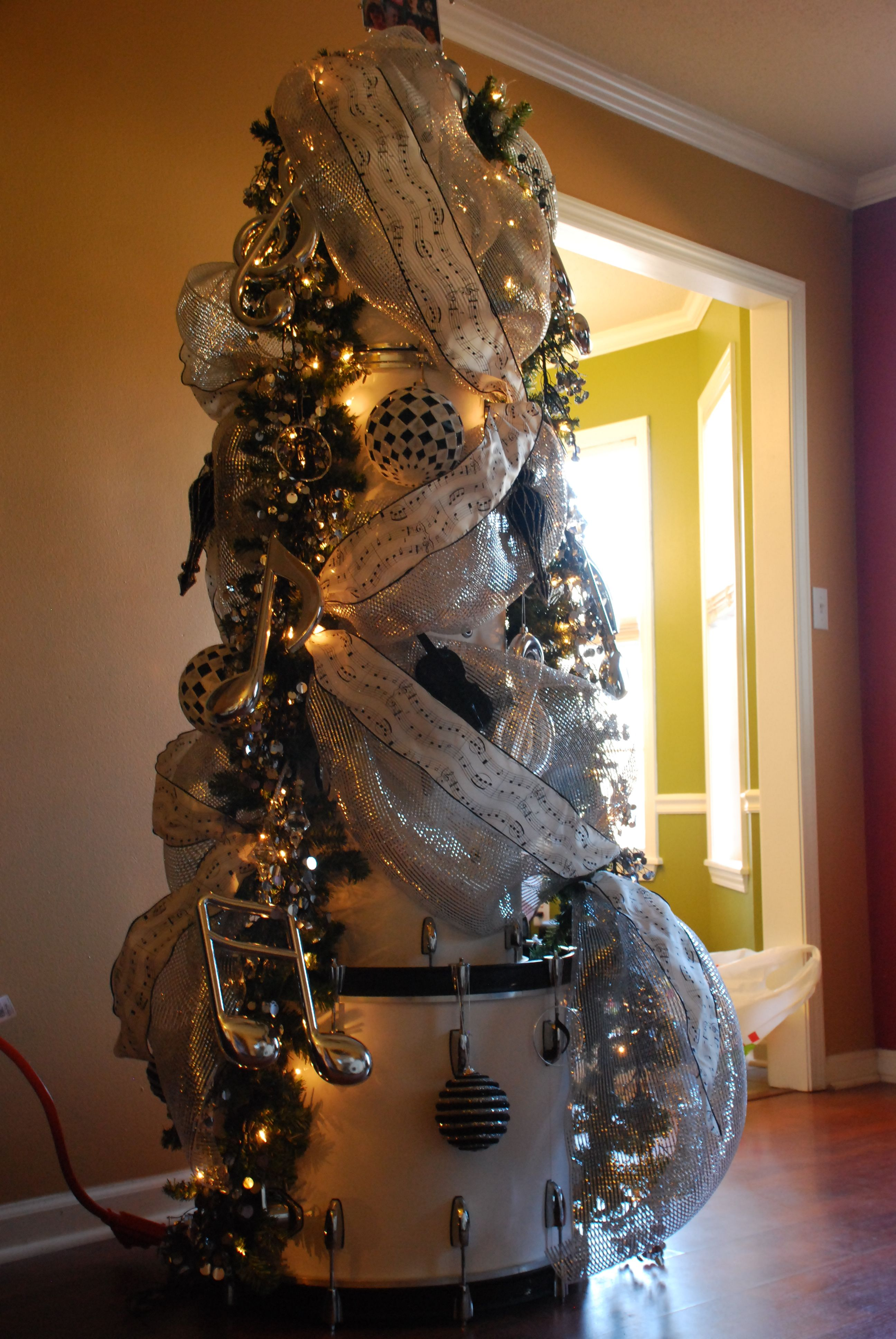 Our 2014 Christmas Tree Made From My Husbands Set Of Vintage Pearl Drums  Music From
