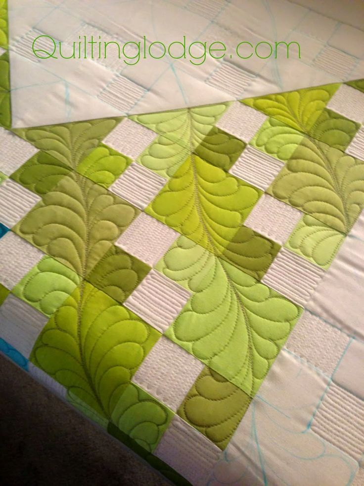 http://www.quiltinglodgeblog.com/ -- click to view whole quilt...she carries the feathers outside the main design